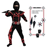 Spooktacular Creations Unisex Child Flame Red Ninja Costume Set for Kids Kung Fu Outfit Halloween Ideas (Small ( 5 – 7 yrs))
