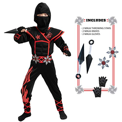 Child Unisex Flame Red Ninja Costume (Medium (8-10 yr))
