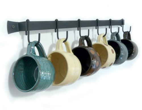 Wall-Mounted Wrought Iron Mug Rack, 24' with 6 Cup Hooks, Made in USA