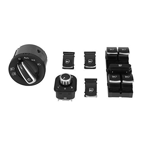 KIMISS 6Pcs Auto Scheinwerfer Rückspiegel Power Windows Switch Button Control