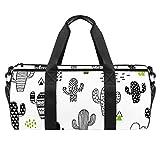 Reisetasche / Strandtasche / Sporttasche mit Kaktus-Stick-Muster, große Tasche mit trockenem Nassfach