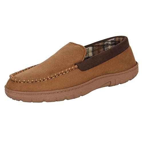 Hanes Men's Moccasin Slipper House Shoe with Indoor Outdoor Memory Foam Sole Fresh Iq Odor Protection, Tan, Medium