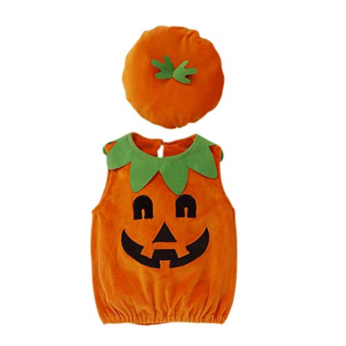 Newborn Baby Halloween Costume Pumpkin Jumpsuit Pagliaccetto Top con Cappello per Costume da Bambino
