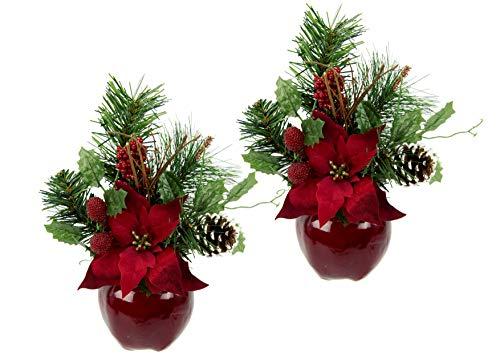 Flair Flower Gesteck Weihnachtsstern auf Apfel-Topf Poinsettie Kunstblume Weihnachtsblume Winterblume Blume Pflanze Arrangement Weihnachtsdeko Tischdeko 2er Set, rot, 24x17x9 cm
