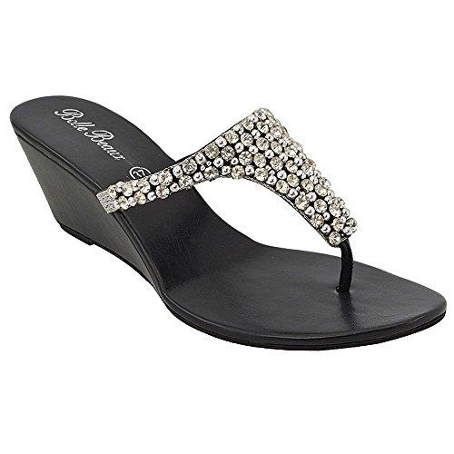 ESSEX GLAM Sandalo Donna Nero Infradito Scintillante Elegante Finto Diamante con Tacco a Cuneo EU 42
