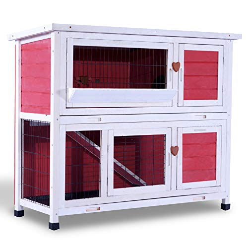 Lovupet 2 Story Outdoor Wooden Rabbit Hutch Chicken Coop...