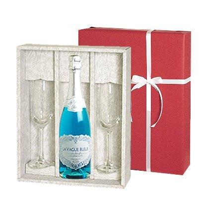 <ペアグラスセット>スパークリング! ラ・ヴァーグ・ブルーギフト (泡1、グラス2) (ワイン)