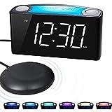 ROCAM VibrationsWecker Großem LED-Display mit Dimmer, Wecker für Tiefschläfer mit 7-farbigem Nachtlicht, Zwei USB-Ladeanschlüssen für schwere Schläfer, Hörgeschädigten, Gehörlosen, Senioren - Weiß
