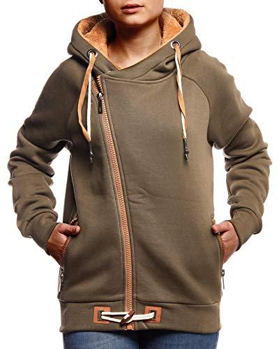 Leif Nelson Damen Übergangsjacke Freizeitjacke Sweatjacke mit Kapuze Oberteile Schwarze Jacke Baumwolle-Anteil Basic Hoodie für Frauen Kapuzenjacke Sweater LN0928 XXL Khaki