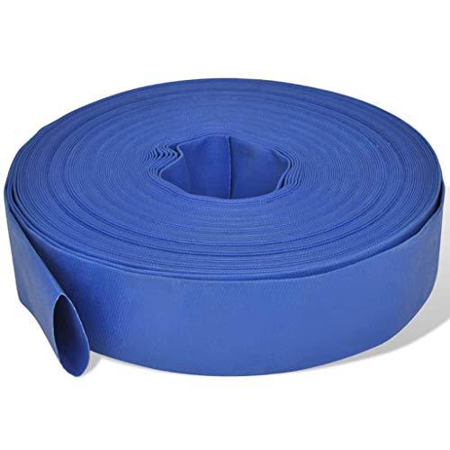 vidaXL Manguera Plana Suministro de Agua de PVC 50 m 2' Azul Goma contra Fuego