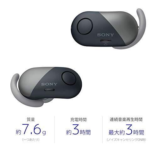 ソニー完全ワイヤレスノイズキャンセリングイヤホンWF-SP700N:AmazonAlexa搭載Bluetooth対応左右分離型防滴仕様2018年モデルブラック/WF-SP700NBM