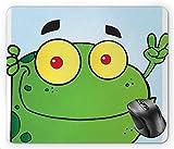 Fröhliche grafische lustige lustige Frösche des Tieres mit Pfirsich-Handzeichen, lindgrünes pastellgelbes zinnoberrotes Baby-blaues Mauspad