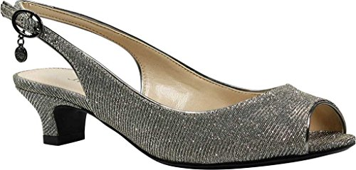 J. Renee Women's Jenvey Low Heel Slingback,Pewter Glitter Fabric,US 9 W