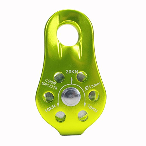 Geelife 20KN Micro Climbing Pulley General Purpose Small Aluminum Rope Pulleys for Rescue/Aloft Work/Rappelling Etc. (Green, Single Pulley)
