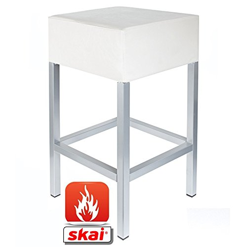 Kaikoon barkruk wit/zilver B1 Afmetingen: 34 cm x 34 cm x 82 cm moeilijk ontvlambaar