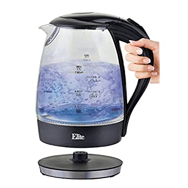 Elite Platinum EKT-300 1.7 L Cordless Glass Kettle, Black