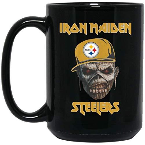 N\A Iron Maiden Pittsburgh Steelers. Taza Negra Taza de cerámica de café/Taza de té para Oficina Impresionante Regalo para Halloween cumpleaños acción de Gracias.