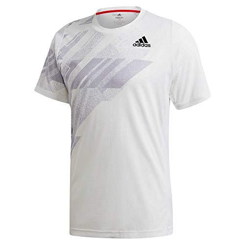 adidas Camiseta estampada Freelift para hombre, color blanco/rosa