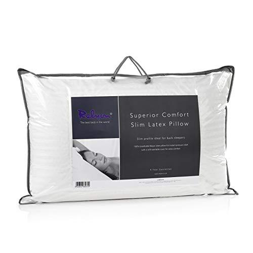 Relyon Almohada de látex Transpirable Funda Suave de 100% algodón, Color Blanco, 68 cm de Ancho x 40 cm de Alto