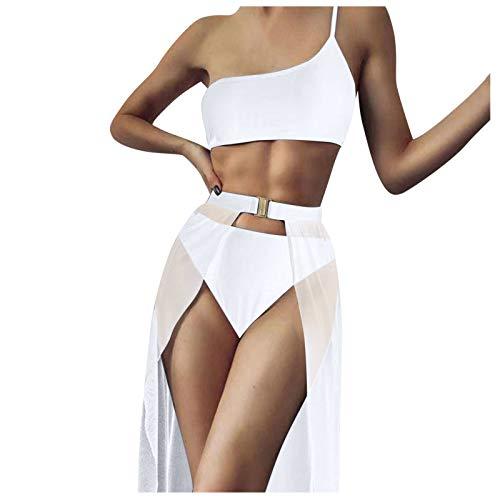 fgsdd Traje de baño de tres piezas para mujer, de color liso Blanco L