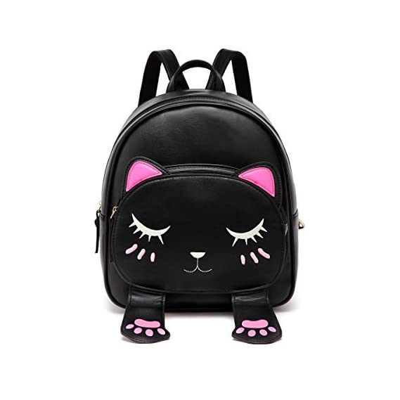 Bizarre Vogue Cute Small Cat Style Backpack for Girls (Black,BV1205)