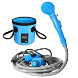 AUTOPkio Portable Outdoor Shower Folding Bucket Kit, Camping Shower Head Plug into 12V Cigarette Adapter and Turn Water into Steady Gentle Stream, Blue