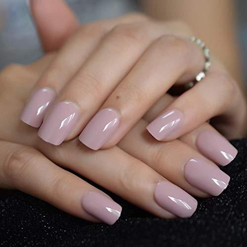 CSCH Faux ongles Faux ongles simples quotidiens carré lisse nude rose doigt ongles accessoires de manucure brillant moyen 24 pièces