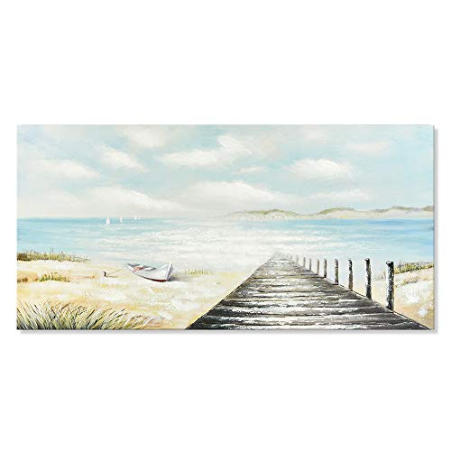 Coastal Canvas Art Path to The Sea Relaxing Seascape Handmade Boat Oil Painting Framed Picture Wall Decoration for Home 40x20 inch
