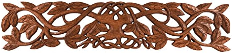 Windalf Celtic Vintage Wanddeko Aila 70 cm Holz-Ornamentik Lebensbaum Deko Weltenesche Wandrelief Mandala Holz-Objekt Handarbeit