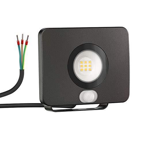 ledscom.de LED Außen-Strahler Wega mit Bewegungsmelder, flach Aluminium schwarz 10W 650lm warm-weiß