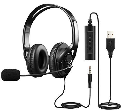Casque USB avec Microphone, Casque USB Casque d'ordinateur, Casque PC avec Microphone antibruit et Commandes Audio, Casque USB Multi-Usage Casque Skype Casque de Chat Casque de Bureau pour Skype