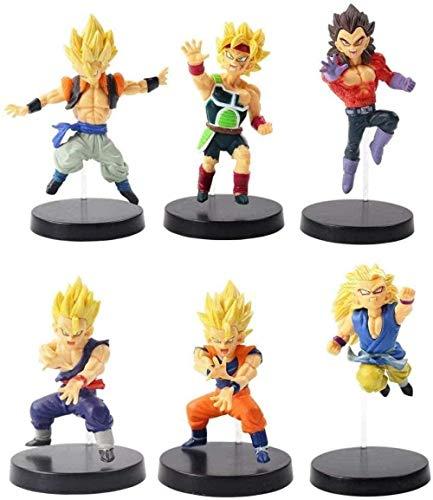 ZYBZGZ 6 Piezas/Lote Dragon Ball Z Goku Vegeta Kakarotto Gohan Gotenks Maleta Broly Q versión PVC Figura de acción colección Modelo Juguete Regalo