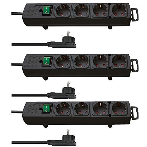 Brennenstuhl Comfort-Line Plus, Steckdosenleiste 4-Fach (mit Flachstecker, Schalter, 2m Kabel und extra breite Abstände der Steckdosen) Farbe: schwarz (4-Fach, 3 Stück)