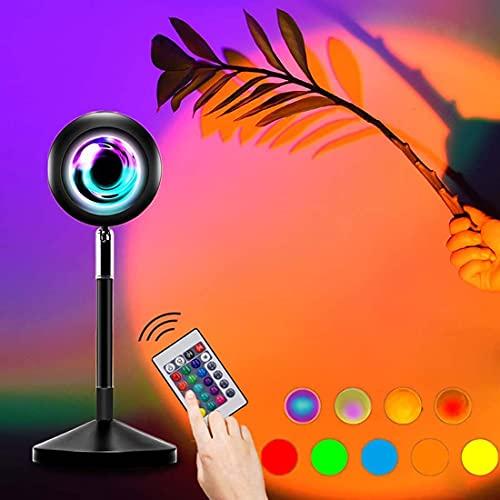 AMEA Lámpara Sunset, 16 Colores, Brillo Ajustable Sunset Mood Lights Proyector, lámpara arcoíris con Control Remoto 4 Modos dinámicos