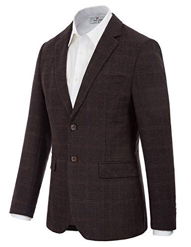 Men's Plaid Wool Blend Blazer Suit Soft Slim Fit Sport Jacket Coat Dark Coffee L
