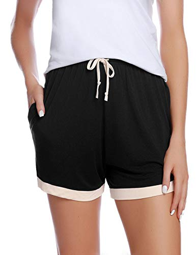 Abollria Shorts Damen Schlafhose Kurze Sporthose Baumwolle Schlafanzughose Pyjamahose Kurz Hosen Yoga Running Gym Beilaufige Elastische Schwarz-1, XL