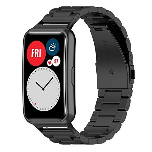 Kobmand Correas Compatible con Huawei Watch Fit,Correa de Reloj de Acero Inoxidable para Huawei Watch Fit (Negro.)