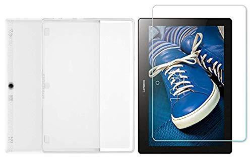 Domxteck (Paquete de 2 en 1 Funda Protectora de Silicona TPU Transparente + Protector de Pantalla 9H para Lenovo Tab 2 A10-30/Tab 2 A30-70F