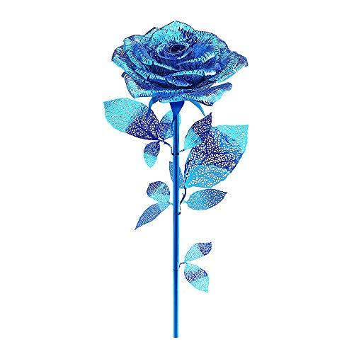 piececool Puzles de metal 3D DIY Rose Cultura DIY Modelo de metal para Adultos - Oro Rosa-15pcs (Azul)