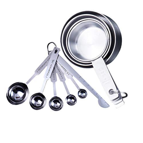 Cabilock 2 conjuntos de xícaras de medição e colher de medição de aço inoxidável, colheres de tempero, colher de chá para cozinha, Prata, 2 Sets