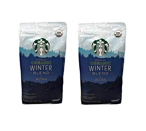 Starbucks Organic Winter Blend Whole Bean Coffee - Pack of 2 Bags - 80 oz Total - Medium Roast, 100% Arabica Coffee -Limited Edition Flavor