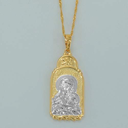 Mezcla de Color Dorado Virgen María Collar Madonna y niño Collares Pendientes Joyas religiosas para Mujeres/Hombres 45cm Cadena Delgada