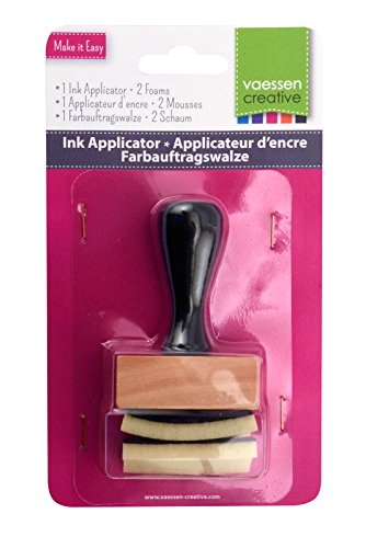 Vaessen Creative Tinte Applikator | Holz & Schaum, Wood, Black, 6 x 4 x 2 cm