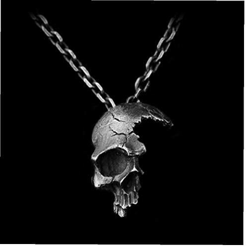 Roto Dañado 45cm Medio Cráneo Colgante, Collar De Los Hombres De Moda del Punk del Motorista del Color del Encanto De Plata Largo De La Cadena