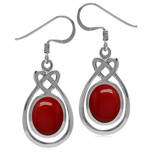 Silvershake 10X8mm Created Oval Shape Red Coral 925 Sterling Silver Celtic Heart Knot Dangle Hook Earrings