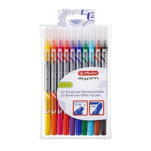 Herlitz 11367232 Fineliner und Fasermaler my.pen, 10-er Packung