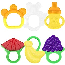 Number-one Baby Teething Toys Set BPA Free Soft Sensory Baby Teether Silicone Fruit Teethers Toy Molar Teeth Soother, Soothing Pain Chew Toys for Babies Infant Toddler 3 Months and Above (Set of 6)