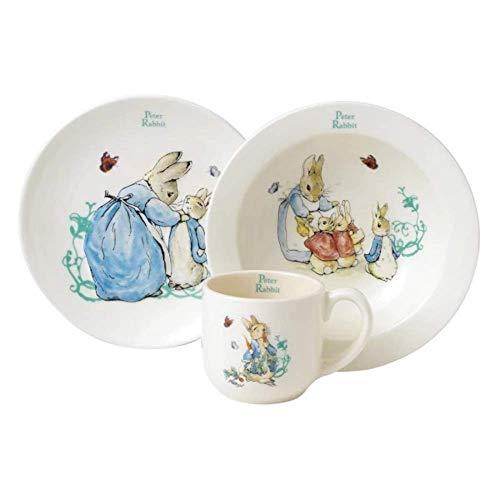 Beatrix Potter - Set stoviglie da neonato, motivo: coniglietto Pierre (Confezione da 3) 10.0000 Bianco, blu