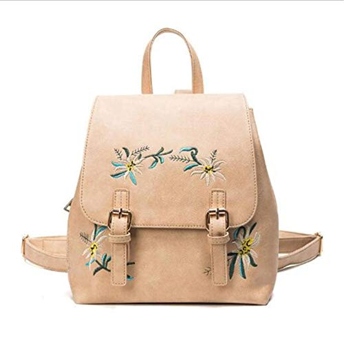 N-B Women Leather Backpacks Female School Bags Girls Rucksack Small Floral Embroidery Flowers Bagpack