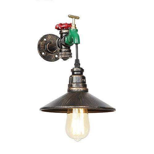 AWJ Aplique de Pared de tubería de Agua Steampunk, para Isla de Cocina de Granja, Interruptor de manija de válvula roja y lámpara de Pared Decorativa de Grifo Verde, focos de par